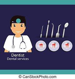 Medical dental background design. Dentist with teeth. illustration