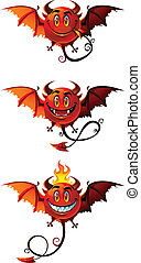 Red demon set - Set of three fun monsters red demons with...