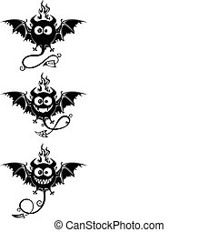 Black devils with big eyes - Black devils with bats wings...
