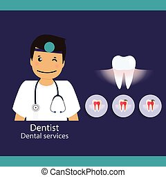 Medical dental background design. Dentist with teeth. Vector...