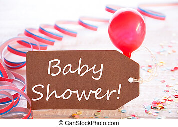 Party Label With Streamer, Balloon, Text Baby Shower