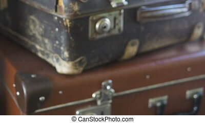 Castle Old torn suitcase, zoom camera - Castle Old torn...