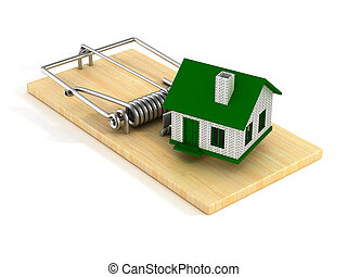 house in mousetrap. Isolated 3D image