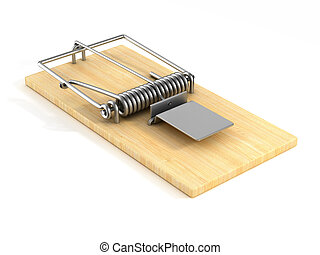 mousetrap on white background. Isolated 3D image