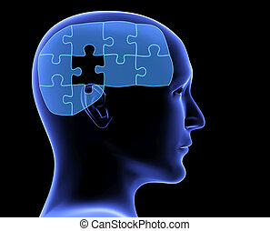 Human profile and brain in the form of the puzzle