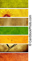 Set of paper banners - Collection banners with texture old...