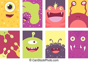 Set of banners with cute monsters