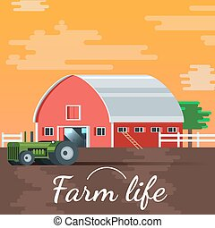Sunset Vector Farm House Illustration Background