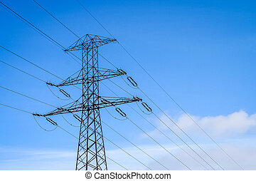 Electric pole lines - Electric poles in the countryside in...