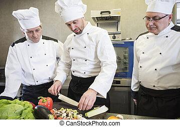 Teamwork in the restaurant kitchen
