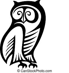 Owl symbol - Black and white owl symbol of wisdom and...