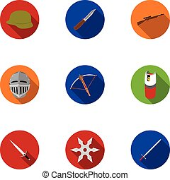Weapon set icons in flat style. Big collection of weapon...