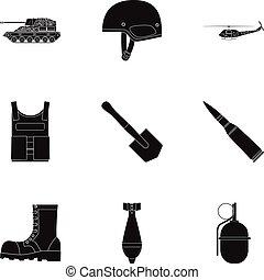 Military and army set icons in black style. Big collection...