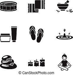 Spa set icons in black style. Big collection of spa vector...