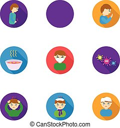 Sick set icons in flat style. Big collection of sick vector...