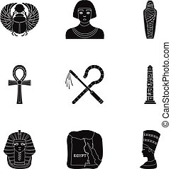 Ancient Egypt set icons in black style. Big collection of...