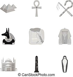 Ancient Egypt set icons in monochrome style. Big collection...