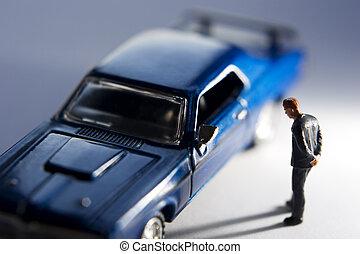 looking at blue car