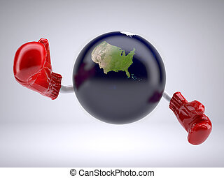 planet earth with only United States of America, arms and...