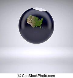 Planet earth with only United States of America, 3d...