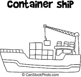 Container ship of transportation vector