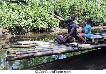 costruzione, Indigeno, tradizionale, fijian, bambù, barca,...