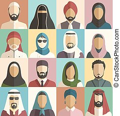 Set of Muslim Islamic People Faces Avatars Characters Icons