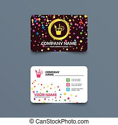 Cocktail sign. Alcoholic drink symbol. - Business card...