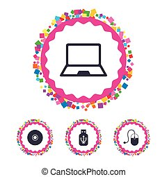 Notebook pc and Usb flash drive stick icons. - Web buttons...
