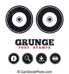 CD or DVD sign icon. Compact disc symbol. - Grunge post...