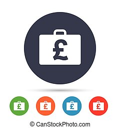 Case with Pounds GBP sign. Briefcase button. - Case with...