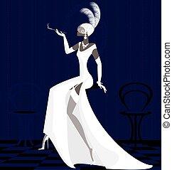 smoking lady in white