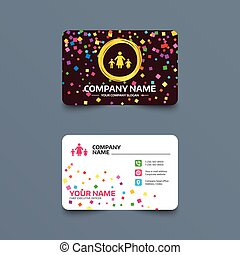 One-parent family with two children sign icon. - Business...
