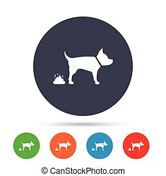 Feces sign icon. Clean up after pets symbol. Put it in the...
