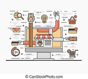 Set line art flat illustration of the concept convenient and secure online shopping