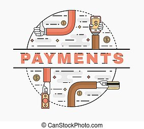 Set line art flat illustration of the concept  convenient and secure payments