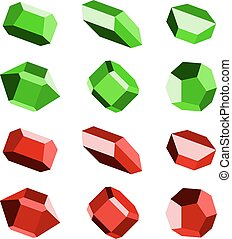mineral crystal stone red green - illustration for the web