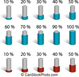 hexagonal bar percentage chart graph diagram - illustration...