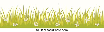 Grass line seamless with flowers isolated on white background use for web site design, decoration and other. Vector Illustration