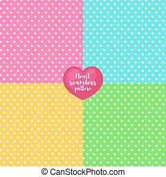Heart seamless pattern set different color for Valentines day, Happy Birthday and other holidays. Decoration element. Vector Illustration