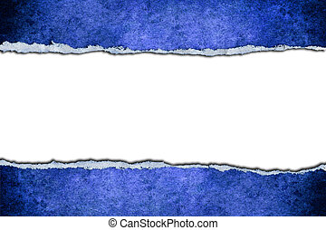 Blue card ripped - A white background with a blue card...
