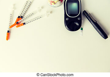 close up of diabedic tools and medication - medicine,...