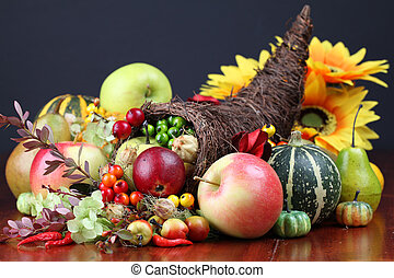 Cornucopia - Autumn cornucopia - symbol of food and...