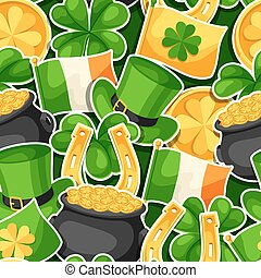 Saint Patricks Day seamless pattern. Flag Ireland, pot of...