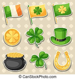 Saint Patricks Day objects. Flag Ireland, pot of gold coins,...