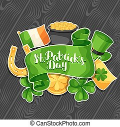 Saint Patricks Day greeting card. Flag Ireland, pot of gold...