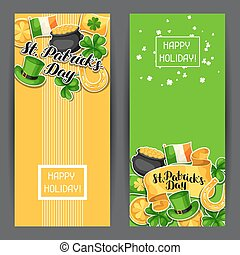 Saint Patricks Day banners. Flag Ireland, pot of gold coins,...