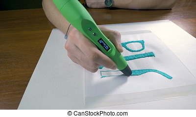Printing with Plastic Wire Filament. 3D pen in work. Wide...