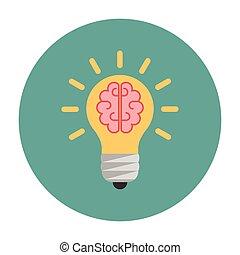Light bulb with a brain inside. Creative concept