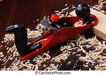 Wood shavings and various construction tools Collage
